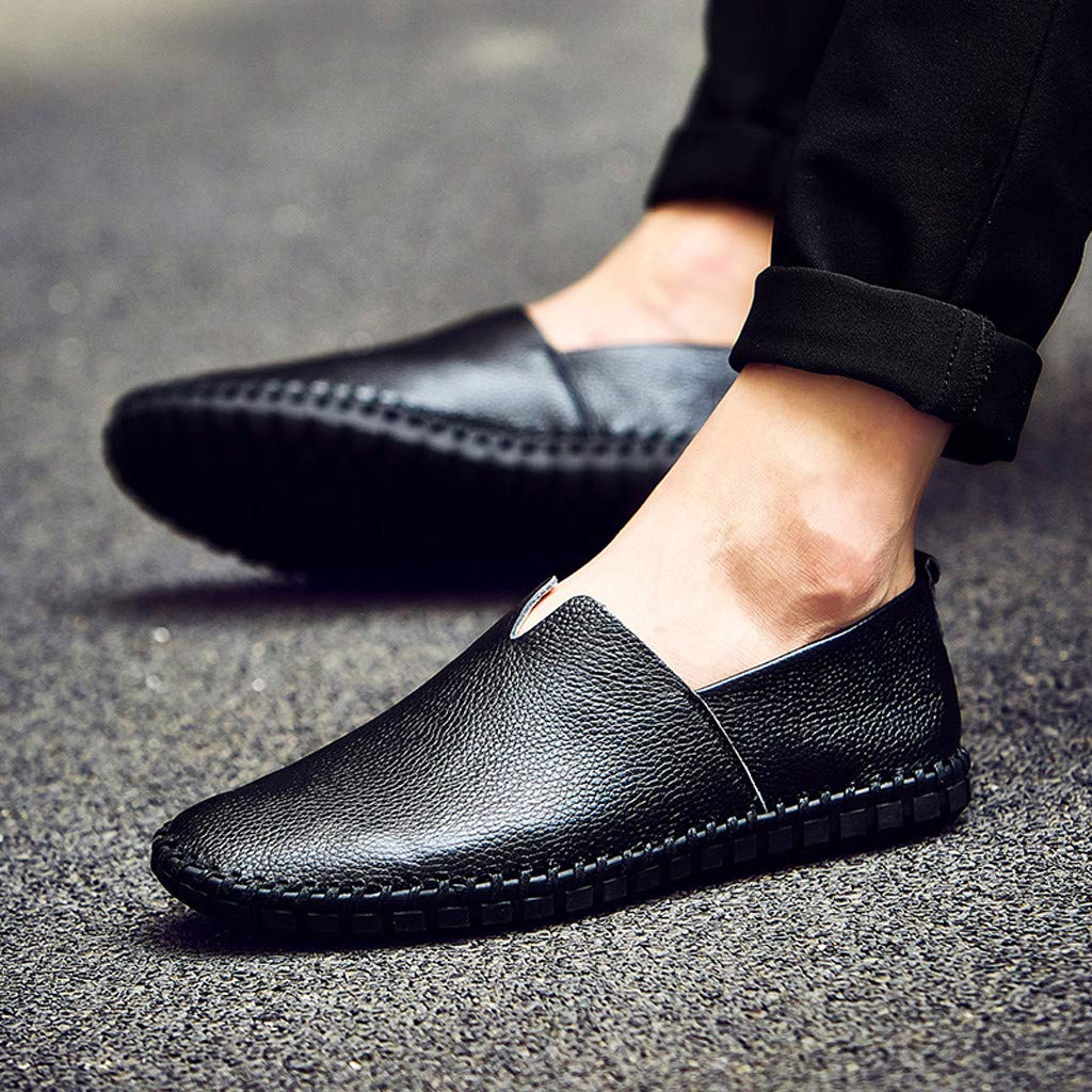 Lefthigh Men's Business Leather Non-Slip Shoes, Casual Fashion British Style Sneakers