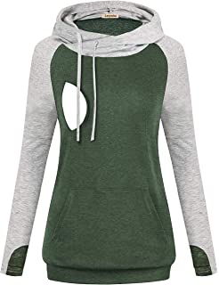 Coolmee Women Quarter Zip Maternity Breastfeeding Hoodie Color Block Nursing Sweatshirt Tops with Pocket