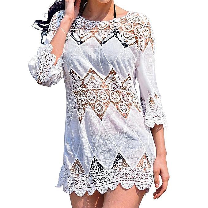 5201c65ea673 Bronkey Women s Summer Beach Wear Lace Floral Crochet Bikini Cover ...