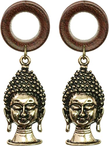 PAIR ANTIQUED ORNATE BUDDHA BRASS TUNNELS PLUGS TRIBAL GAUGES PLUG GAUGE