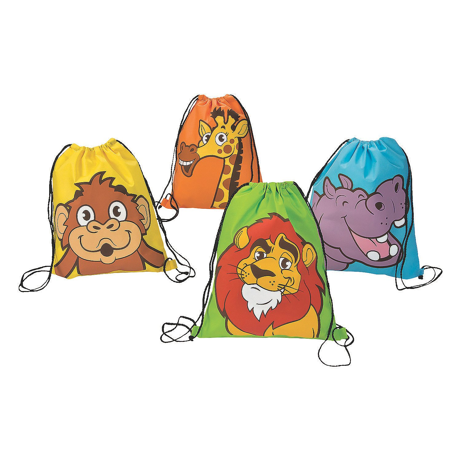 Fun Express Zoo Adventure Drawstring Backpack - 12 Pieces