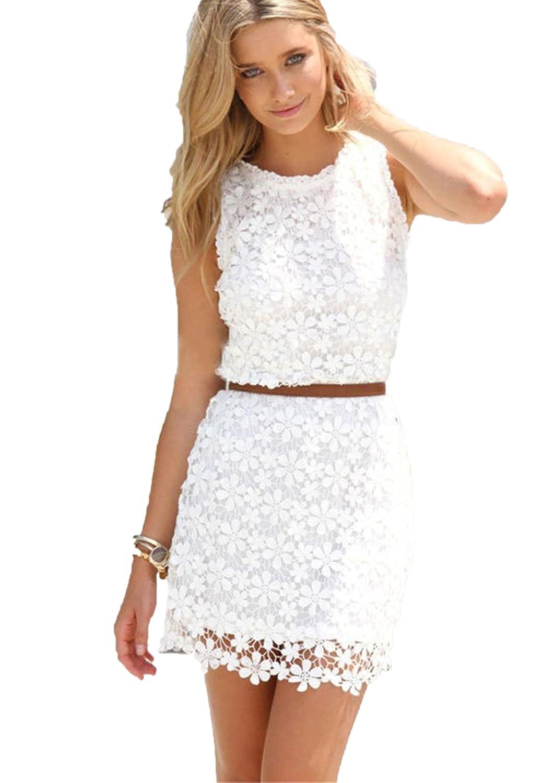 Saoirse Damen Weiß Sexy Lace Spitzen Kleid: Amazon.de: Bekleidung