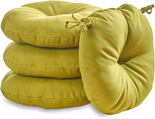 South Pine Porch AM6816S4-KIWI Solid Kiwi Green 15-inch Round Outdoor Bistro Chair Cushion