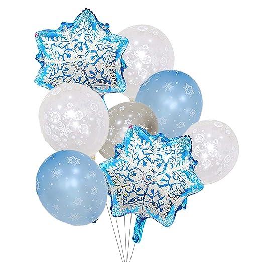 Globos de copo de nieve con perla plateada y azul claro para decoración de invierno de Navidad y fiesta de cumpleaños
