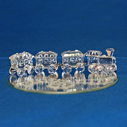 Authentic Swarovski Crystal Figurine Mini Train Set Rests on Display Mirror – Collectible No.193014 Retired Made in Austria