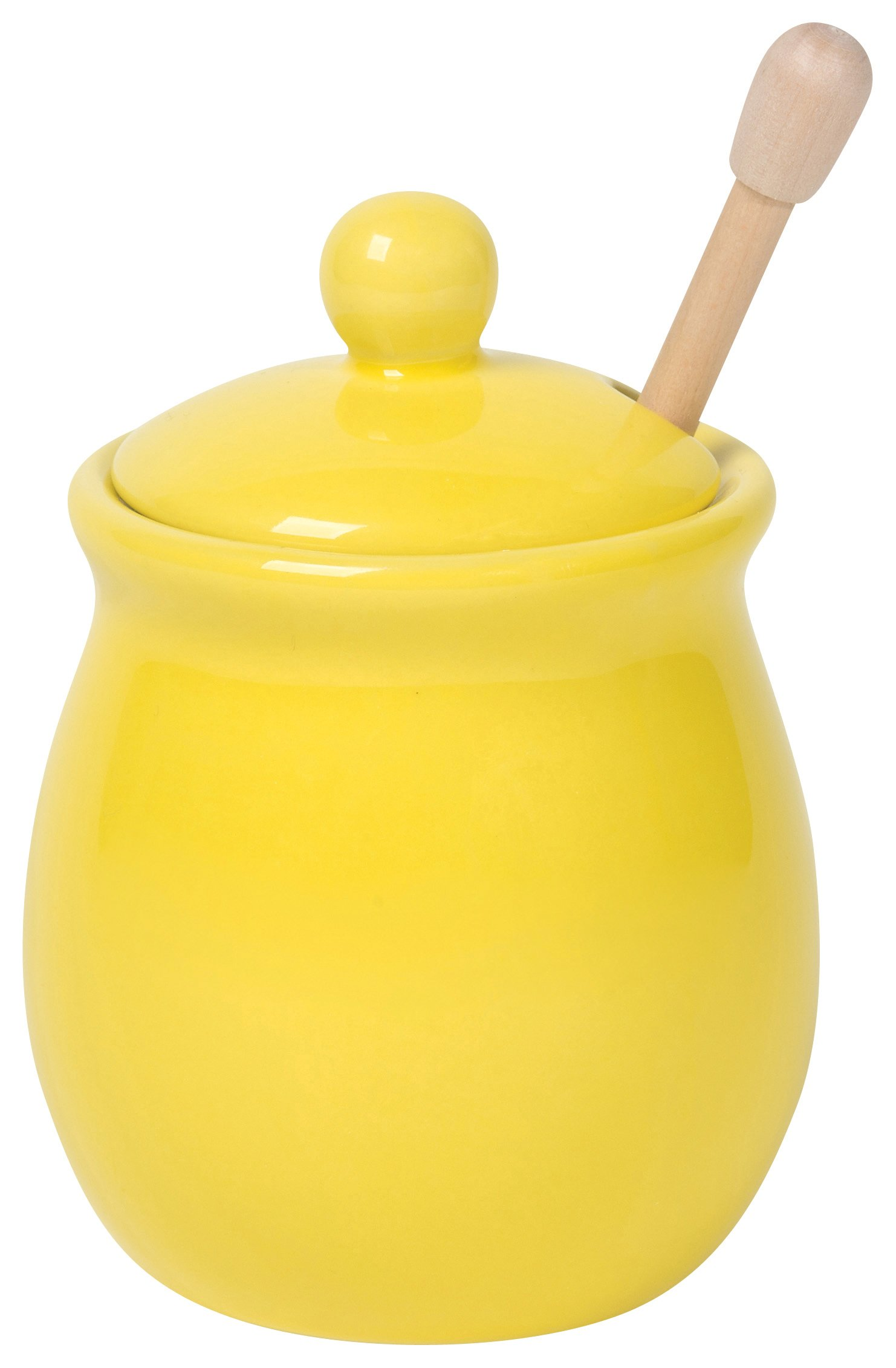 Now Designs Honey Pot with Wood Honey Dipper, Lemon Yellow