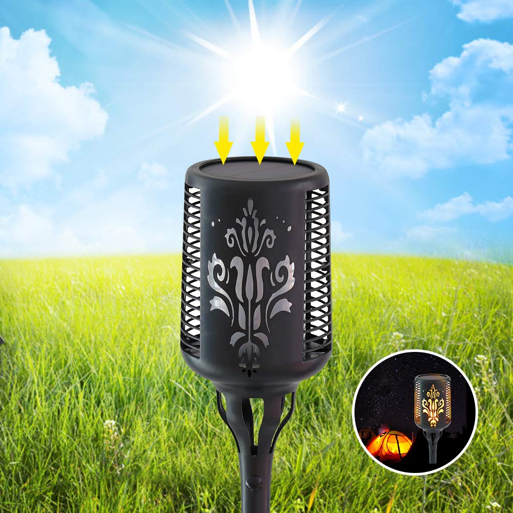 2 Pack Aogist FlamesTorches Lights Outdoor Waterproof 96 LED Dancing Flickering Flame Dusk to Dawn Auto On//Off Security Torch Light for Yard Garden Patio Solar Torch Light