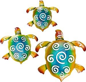 FANWNKI Metal Sea Turtles Set of 3 Wall Decor Art Beach Sculptures Hanging for Bathroom Outdoor Indoor Home Garden