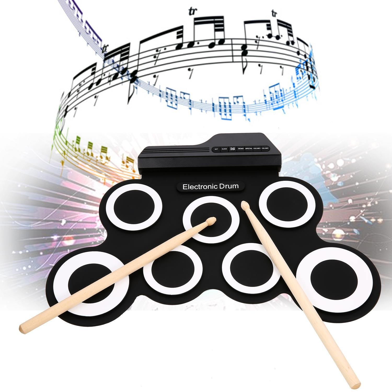 Hindom Electronic Drum Set for Kids, Electronic Drum Pad with Roll-Up with Built-in Speakers Foot Pedals Drumsticks, US STOCK by Hindom