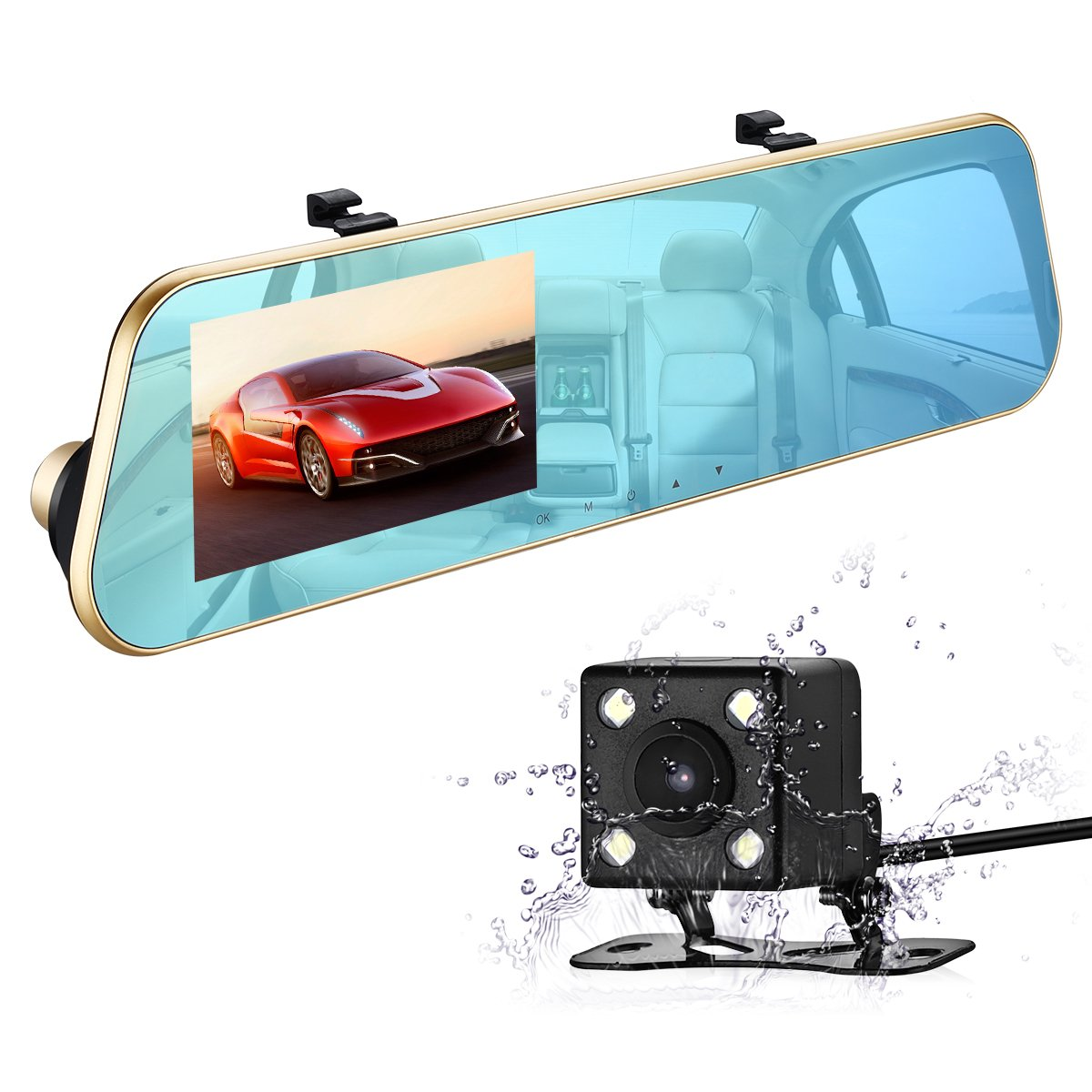 isYoung Mirror Dash Cam Rearview Mirror Cam 720P Full HD 140° Wide Angle Front Car Camera Video Recorder with Front and Back Camera, G-Sensor, Loop Recording