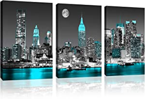 "Canvas prints Black and white New York city Wall Decoration Empire State Building skyline blue city wall art for bedroom living room office Decoration 3-piece set 12"" x16"" Modern Canvas Artwork"