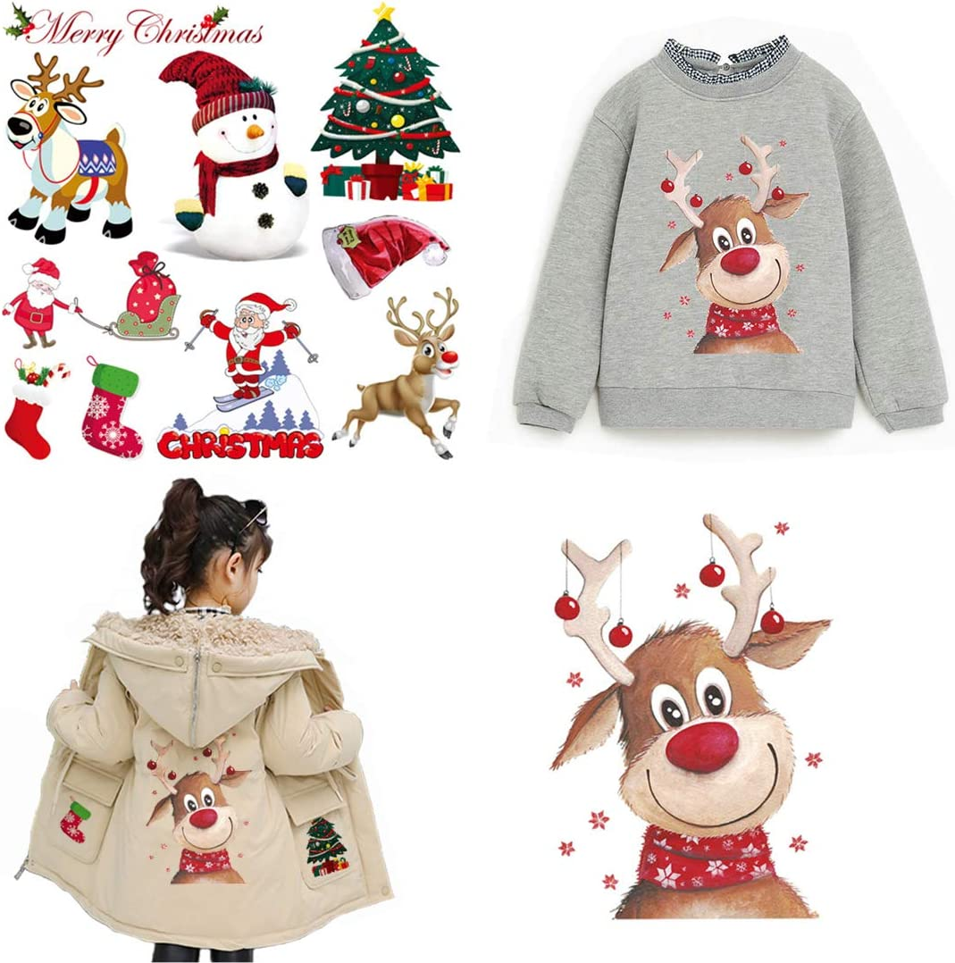 Christmas Iron On Patches for Kids Clothes 2 Sheets Cute Elk Santa Claus Motif Washable Heat Transfer Iron On Stickers with DIY Decor Design T-Shirt Jackets Sweatshirt Jeans Coats