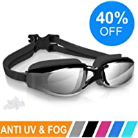 ARTEESOL Swimming Goggles,No Leaking Anti Fog Swim Goggles Crystal Clear Vision Mirrored with UV Protection,Free Protective Case and Earplug Included,for Adults and Kids(5 Colours)