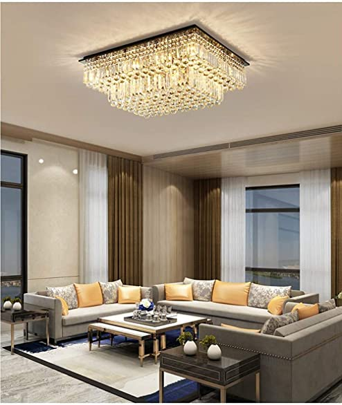 SILJOY Modern Raindrop Crystal Chandelier Lighting Rectangular Flush Mount Ceiling Light Fixture L35.4″ x W 27.6″ x H14″