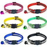 Cat Collar with Bells, Horuhue 6 Pack Reflective Cat Breakaway Collars Safe Adjustable Nylon Strap to Fit All Cats & Larger K