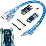 Anpro 2PCS Board Arduino NanoV3.0 ATMega328P CH340G,2Pcs Câbles USB, 1PCS Nano Adaptateur de Terminal,3PCS Soudures des Pins Arduino DIY