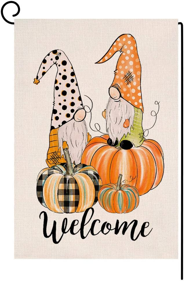 Welcome Fall Thanksgiving Garden Flag Vertical Double Sided Pumpkin Gnomes Farmhouse Autumn Burlap Yard Outdoor Decor 12.5 x 18 Inches (112900)