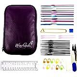 Wisehands 22 Pcs Knitting Needles Crochet Hooks Set with a Purple Storage Case