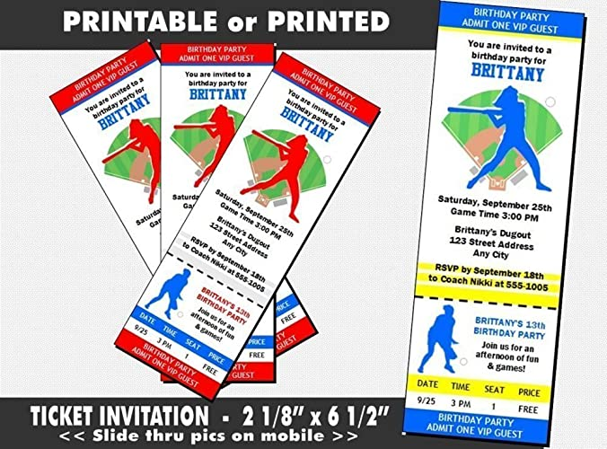 Softball Birthday Party Ticket Invitation Printable Or Printed Option