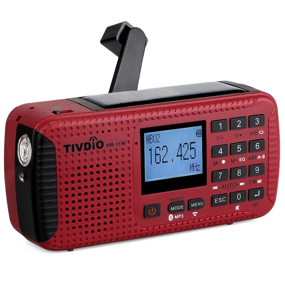 TIVDIO HR-11W NOAA Weather Alert Radio Alarm with Emergency Radio AM FM Solar Hand Crank Camping Red SOS Light Flashlight Wireless TF Card Speaker Digital Recorder Phone Charger(Red)