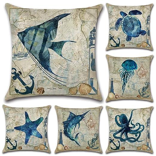 HuifengS Fundas de cojín cuadradas de Lino para sofás o Camas, Animales Marinos, caballitos de mar, pulpos, Juego de 6 Fundas de cojín, 45 x 45 cm