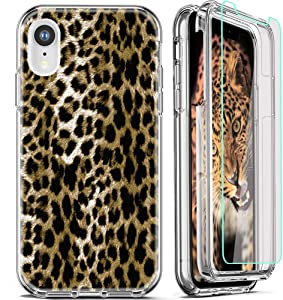 FIRMGE for iPhone XR Case, with 2 x Tempered Glass Screen Protector 360 Full-Body Coverage Hard PC+Soft TPU Silicone 3 in 1 Military Grade Heavy Duty Shockproof Phone Protective Cover Leopard Pattern