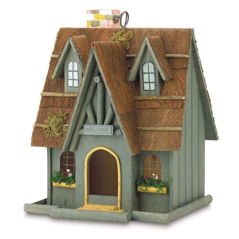 Birdhouse constructed of wood bird house design free standing bird - Amazon Com Gifts Decor Thatch Roof Wood Cottage Chimney Bird House Patio Lawn Garden