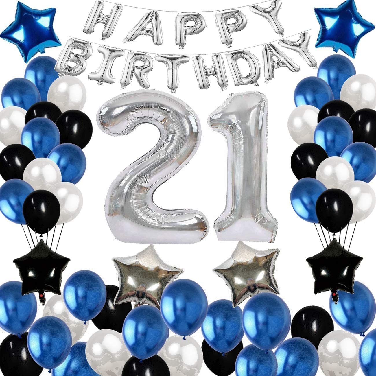 Amazon Com 21st Birthday Decorations 12 21 Years Old Birthday Party Decoration Supplies With Happy Birthday Banner Happy Birthday Balloons Decor Perfect For Girls And Boys Blue Silver And Black 80 Pcs