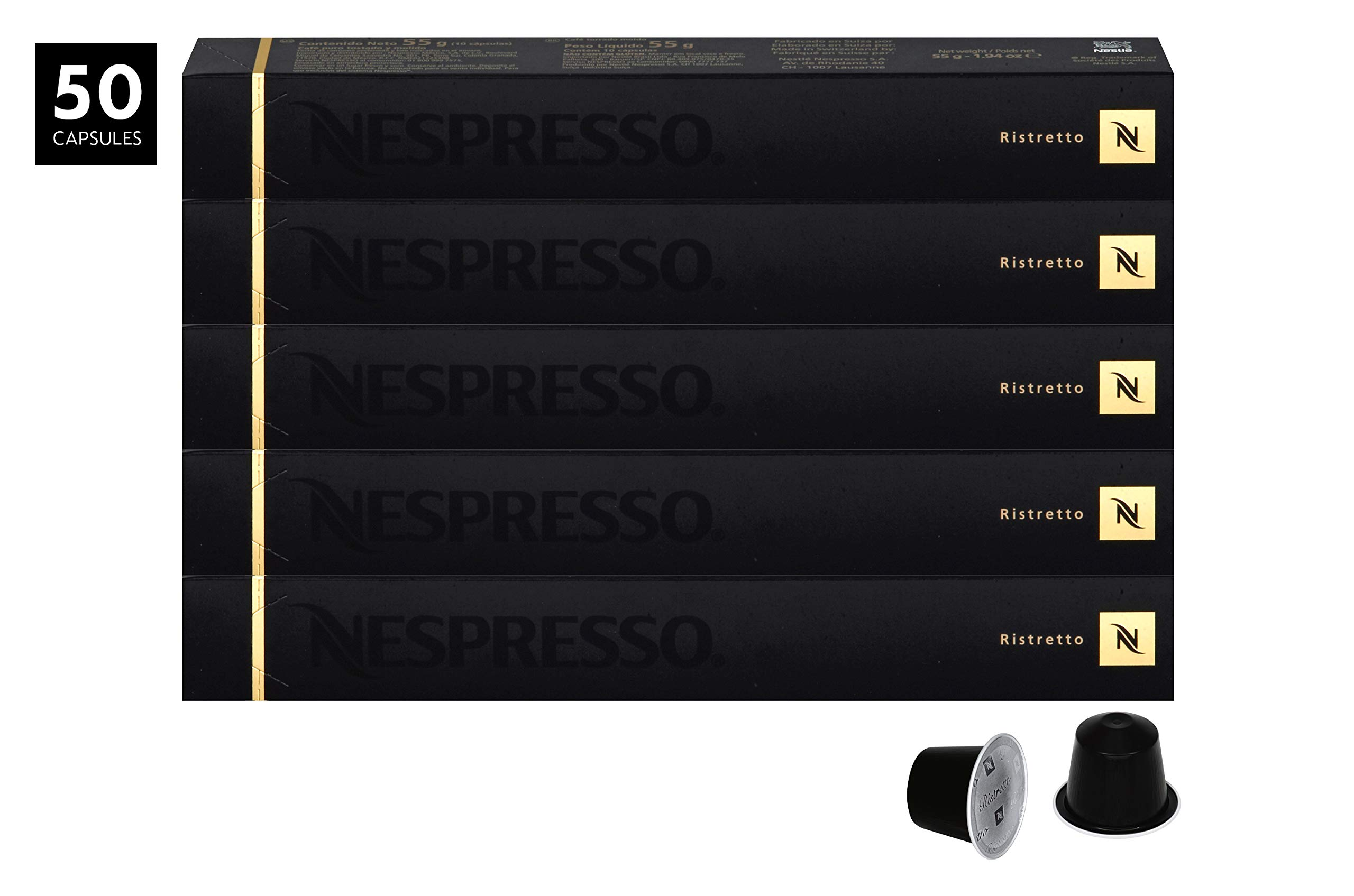 Nespresso Ristretto OriginalLine Capsules, 50 Count Espresso Pods, Intensity 10 Blend, Strong Roast South American & East African Arabica Coffee Flavors by Nespresso