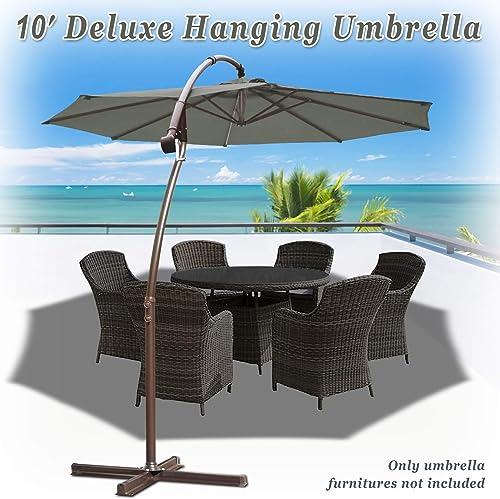 Strong Camel 10' Cantilever Patio Umbrella Offset Hanging Banana Sunshade Garden Grey