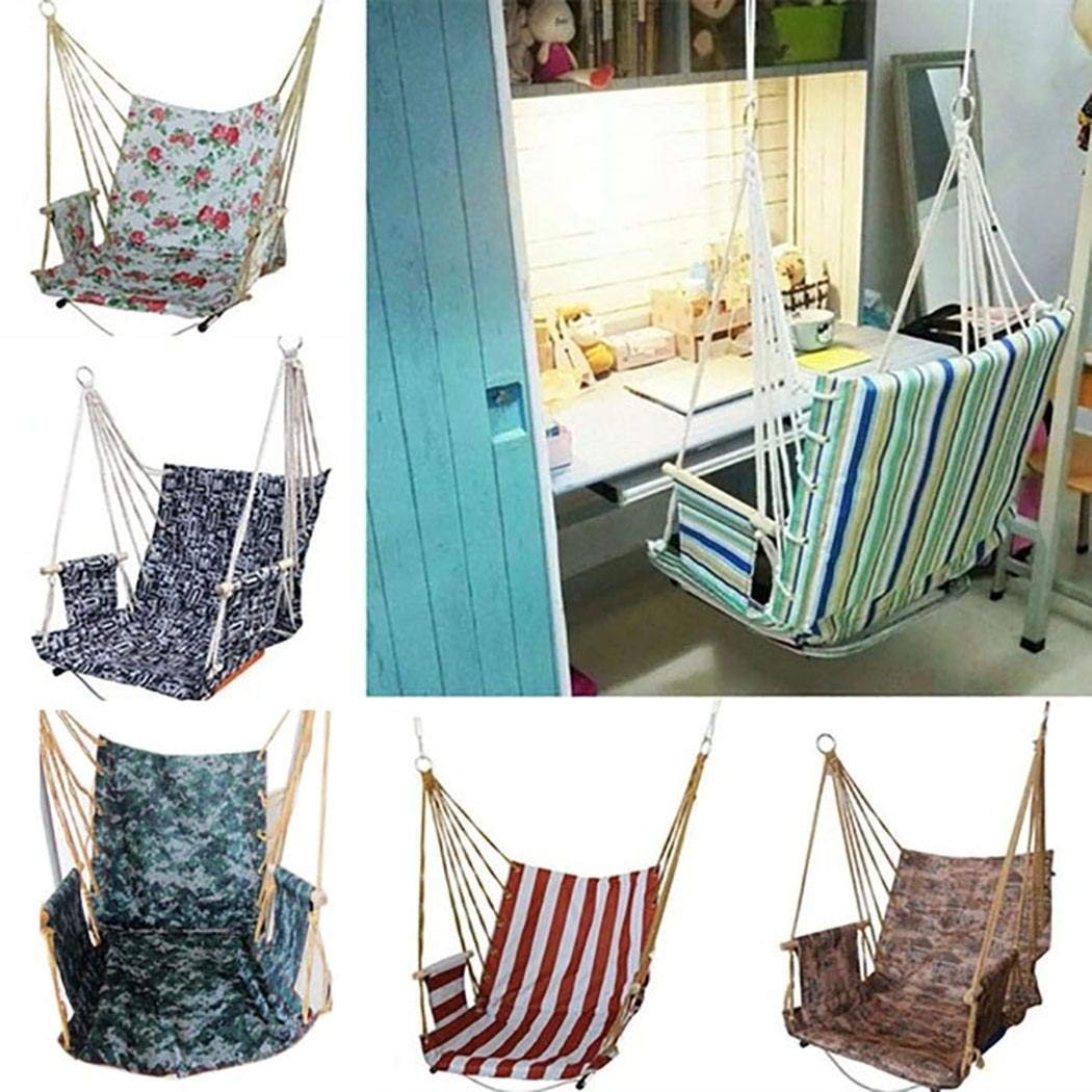 OYTRO Home Dormitory Hammock Chair Hanging Chair Outdoor Garden Swing Chair Seat (Blue White Stripes)