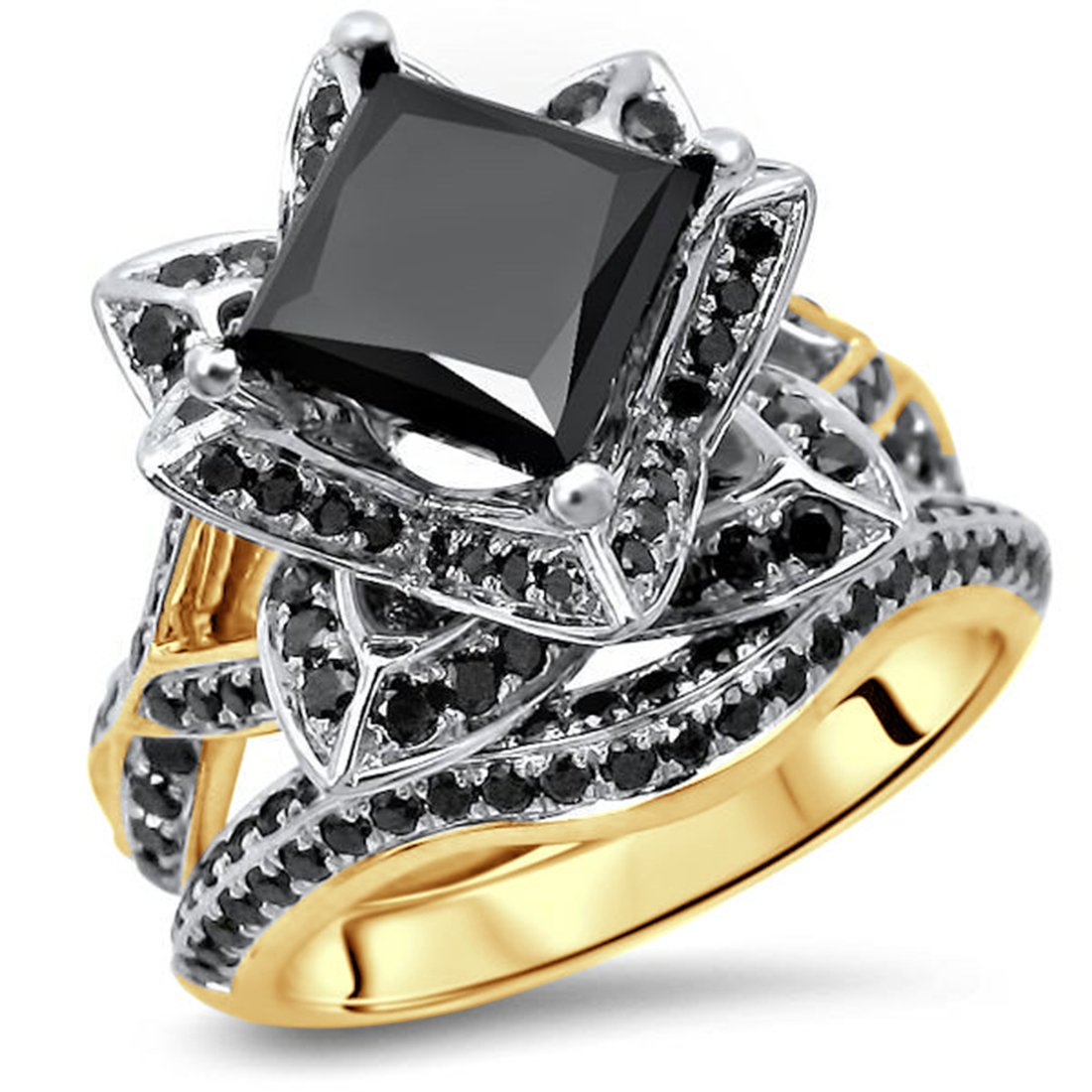 Smjewels 2.9Ct Black Princess Cut CZ Diamond Lotus Flower Engagement Ring Set Yellow Gold Fn