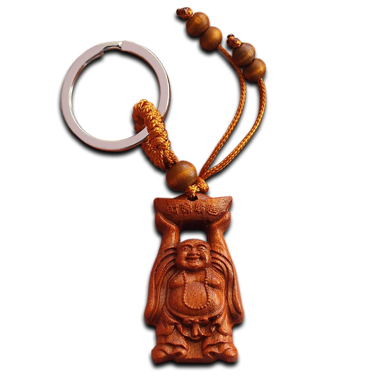*****Very Nice Carved Wood Laughing Buddism Keyring*****
