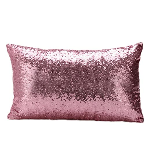 nikgic lentejuelas funda de almohada Funda para cojín, diseño de sirena funda de almohada 50 * 30 cm, Rosa, 30*50CM