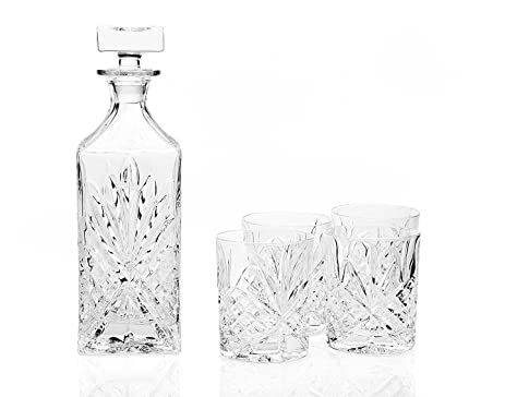 SHANNON BAR SET - SHANNON CRYSTAL BAR 6 PIECE SET WITH SILVER TRAY