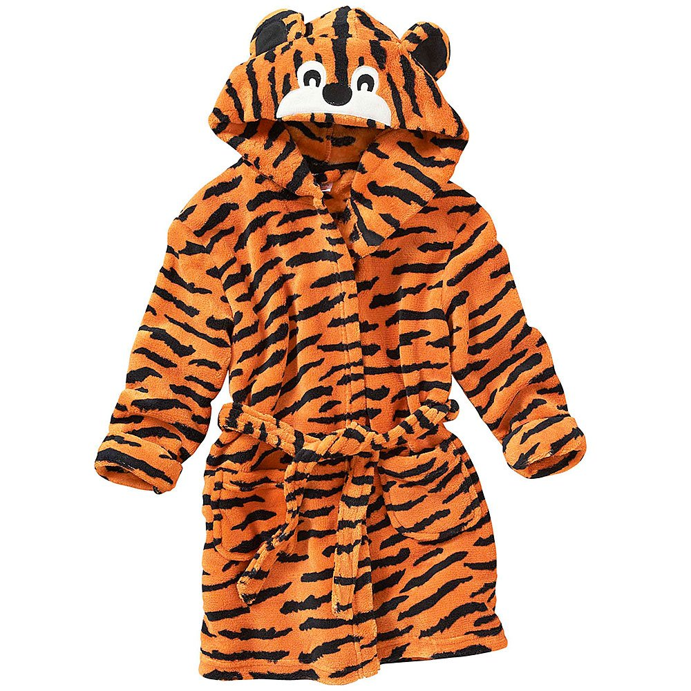 Animal Crazy Childs Boys Girls Tiger Bath Robe Dressing Gown Supersoft Fleece