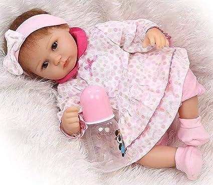 """17/""""//45cm Realistic Baby Doll Reborn Lifelike Vinyl Newborn Girl Silicone Doll"""