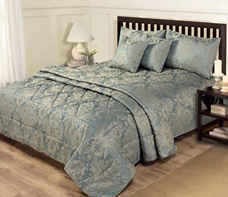 6 Piece Jacquard Blue Gold Bedding King Size Duvet Set