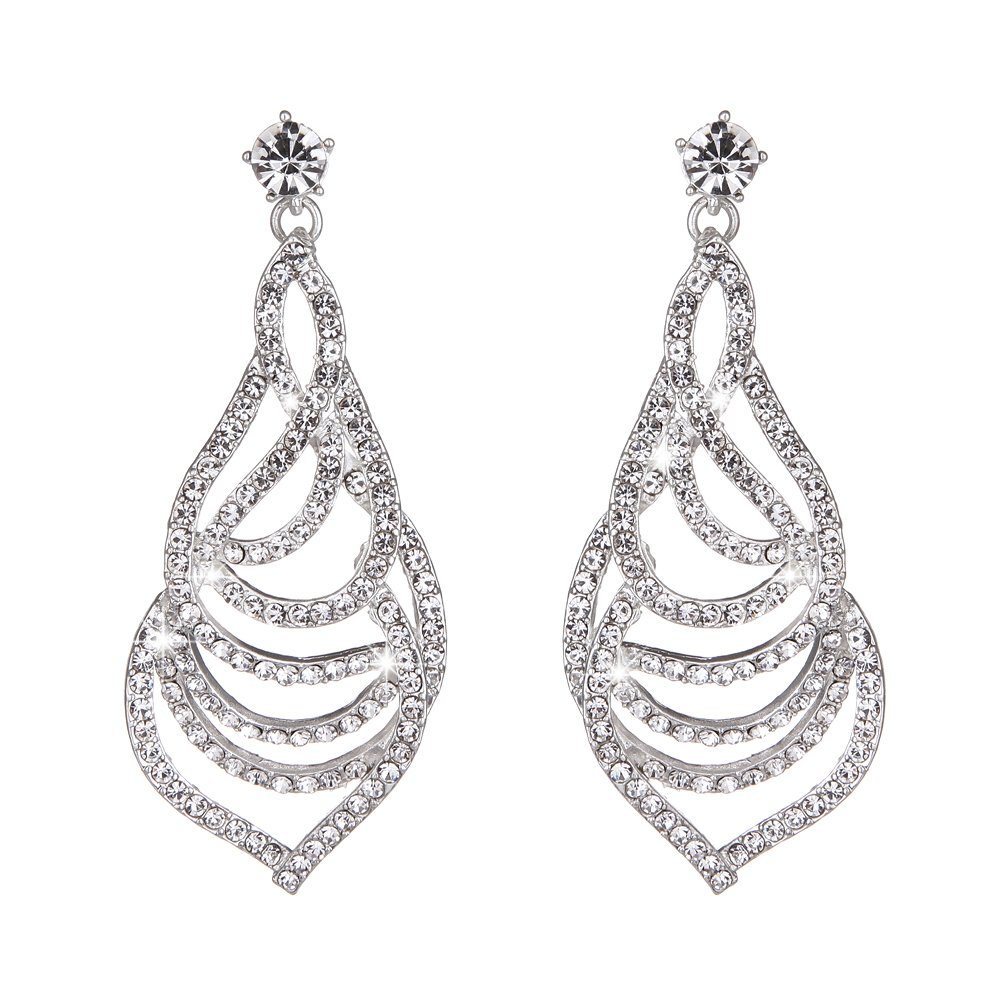 Youfir Bridal Austrian Rhinestone Flower Dangle Earrings for Bridesmaids Wedding Dress(E-Clear)