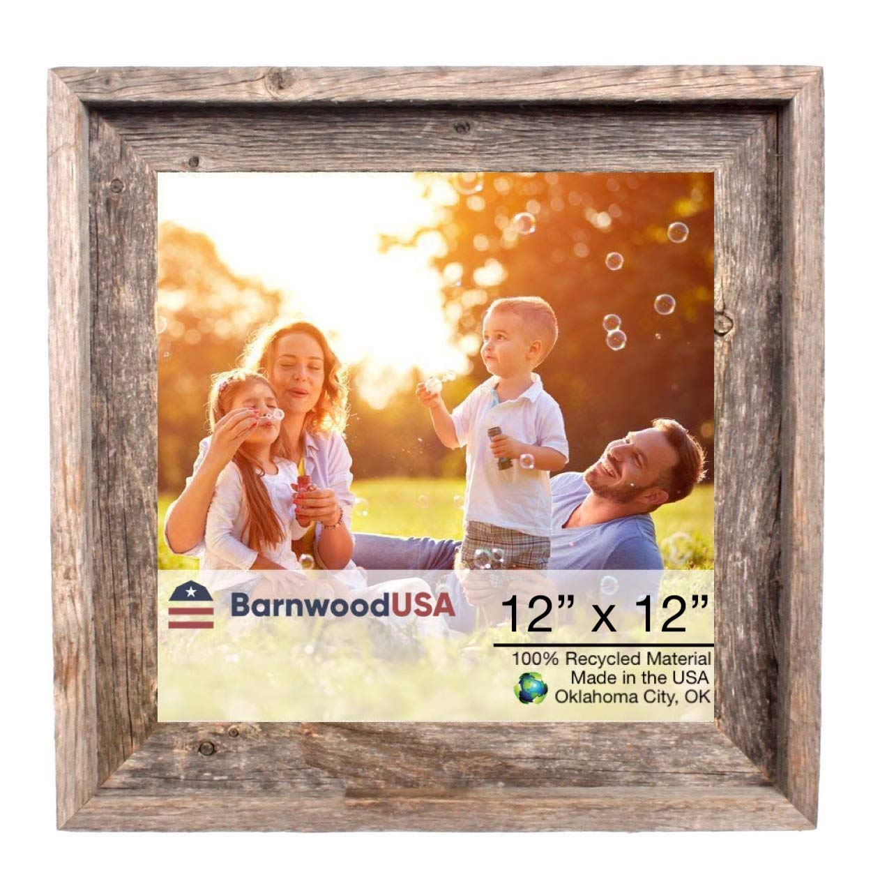 BarnwoodUSA Rustic Farmhouse Signature Picture Frame - Our 12x12 Picture Frame can be Mounted Horizontally or Vertically and is Crafted from 100% Recycled and Reclaimed Wood | No Assembly Required by BarnwoodUSA