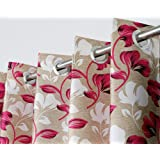 Exporthub 2 Pieces Fancy Design Pink Floral Leaf Polyester Eyelet Window Curtains - Length 5 Feet, (EHSPR724_54)