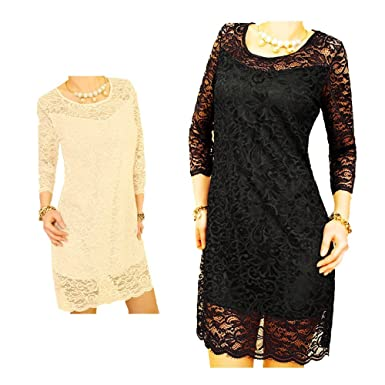 Doppellagiges Spitzenkleid, Partykleid, festlich (Design 1 Apricot S ...