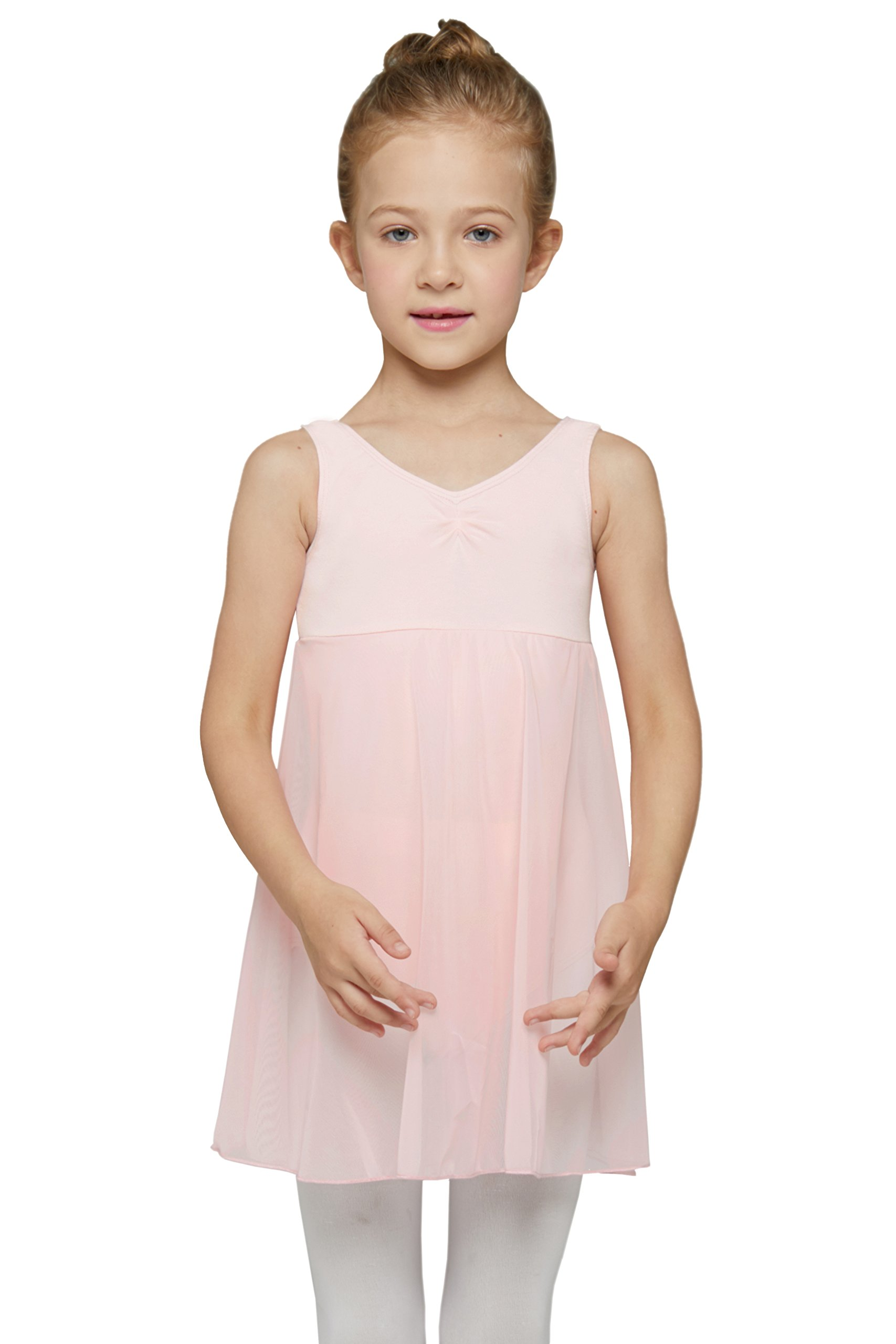 Skirted Sleeveless Leotard for Girls by Mdnmd (Tag 150) Age 10-12, Ballet Pink)