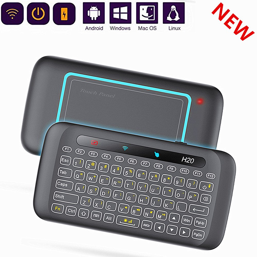 H20 Wireless Mini-Keyboard air Mouse New Two-Sided Touch GRB Backlit Keyboard H20 with Infrared Learning Function, 2.4GHz Rechargeable Mouse Combo for Android TV Box, PC, Computer, Media Player Yongf