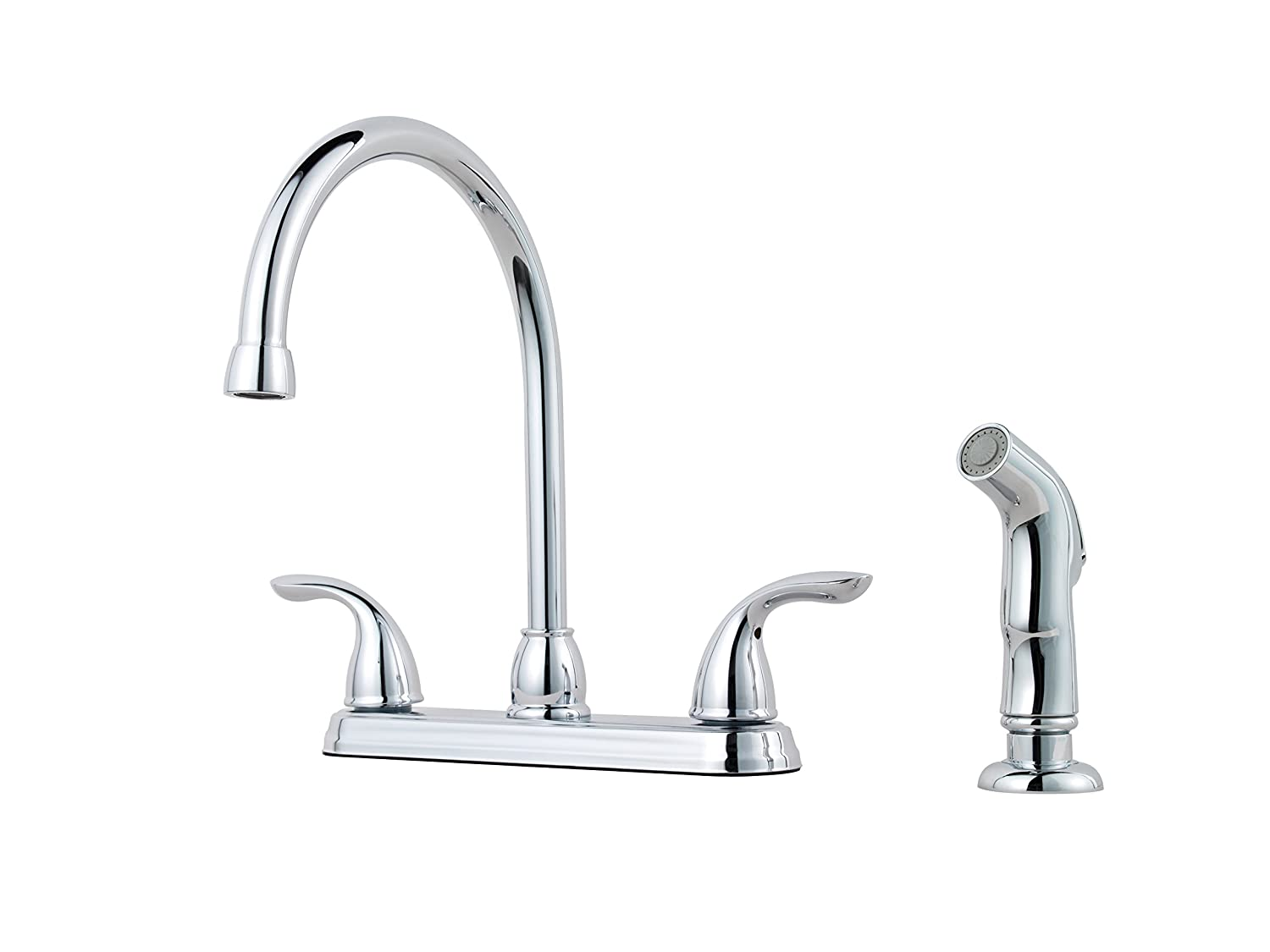Pfister G136-5000 Pfirst Series 2-Handle Kitchen Faucet with Side Spray in Polished Chrome, 1.8gpm