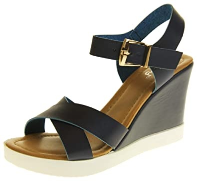 0b683773dce Image Unavailable. Image not available for. Color  Betsy Womens Synthetic  Leather Peep-Toe Wedge High Heel Strappy Sandals Blue ...
