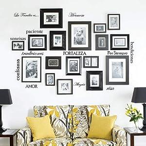Innovative Stencils Set of 12 Spanish Family Quote Words Vinyl Wall Sticker Picture Frame Wall Family Room Art Decoration La Familia ES #1476 (Matte Black)