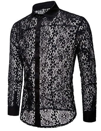 XTX Mens Skinny Shirt Long Sleeve Clubwear Fashion Lapel Lace Shirts
