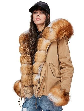 45908d83c0 Melody Women's Luxurious Real Fox Fur Collar Cuff Hooded Coat Fur Lined  Short Parkas Winter Jacket