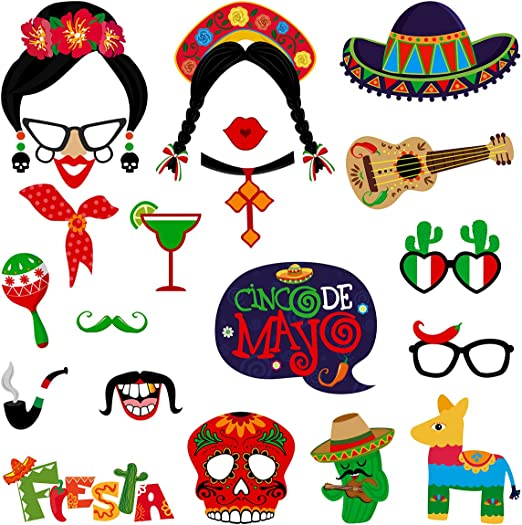 LUOEM 20PCS Cinco De Mayo Photo Booth Props Mexican Fiesta Party Supplies Prop for Birthday Baby Shower Wedding Festival Party Favors